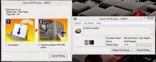 Cara Mengatasi Paper Jam Printer Canon iP 2770 (Blink Orange 3x)