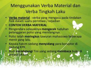 Pengertian contoh verba material Verba Tingkah Laku
