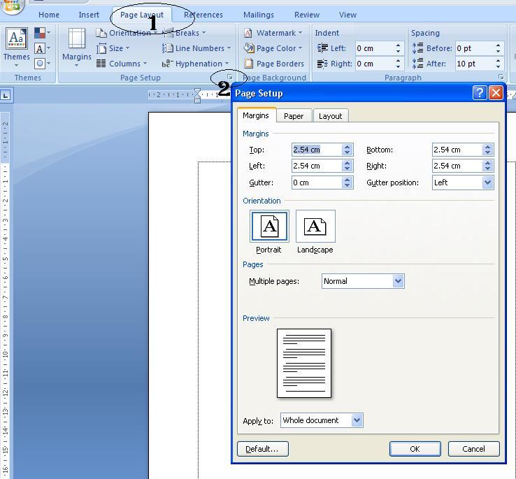 cara mengatur margin ukuran kertas ms word